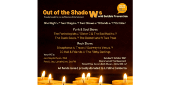 CANCELLED - Out of the Shadows - World Suicide Prevention Day (proceeds for Lifeline Canberra)